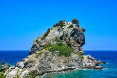 Mamma Mia church on top of a cliff Stock Images