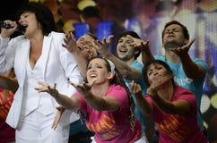 Mamma Mia! show actors. Actors singing at Mamma Mia! show, Moscow, Russia Stock Photos