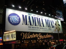 Mamma Mia! in Wintergarden, New York royalty-vrije stock afbeelding