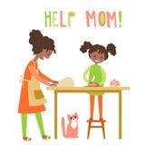 Mamma och dauhter som tillsammans lagar mat Hemhjälp uppfostran vektor Royaltyfria Bilder