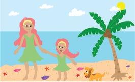 Mamma- och dotterbindning på stranden Arkivfoton