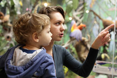 Mamma och son i museum arkivfoto