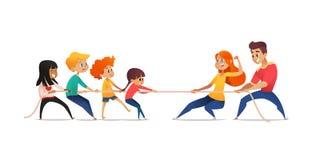 Mamma, papa en kinderen die tegenover einden van kabel trekken De touwtrekwedstrijdconcurrentie tussen ouders en hun jonge geitje vector illustratie