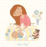 Mamma som kramar hans barn, gullig illustration Arkivfoton