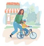 Mamma som undervisar hennes dotter att rida en utomhus- cykel stock illustrationer