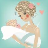 Mamma sveglia con il bambino Fotografia Stock Libera da Diritti