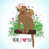 Mamma sveglia della scimmia con il bambino su fondo tropicale royalty illustrazione gratis