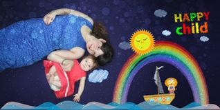 Mamma und Schätzchen Ein liebevolles Lied vorher stock abbildung