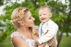 Mamma und Sohn Stockbild