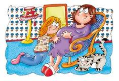 Mamma, zwanger, broer en zuster Stock Afbeelding