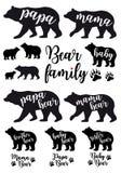 Mammabjörnen, farbjörn, behandla som ett barn björnen, vektoruppsättning Arkivfoton