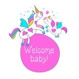 Mammaenhörningen och behandla som ett barn enhörningen Välkomnande kiddo Baby showerparti stock illustrationer