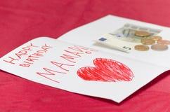 Mammakort för lycklig födelsedag med röd hjärta och euro Arkivbild