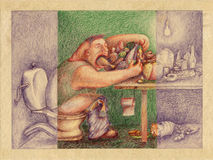 Mammal essence. Comical illustration, big fat man eats a lot while sitting on the toilet at the table full of food. Colored pencil over rough cardboard paper Stock Photo