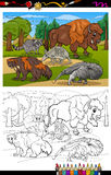 Mammals animals cartoon coloring book Stock Image