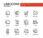 Mammals - line design icons set Royalty Free Stock Photography