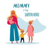 Mamman är min superherotext För lycklig dag för moder s stock illustrationer
