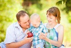 Mamman, farsan och sonen har en picknick royaltyfri fotografi