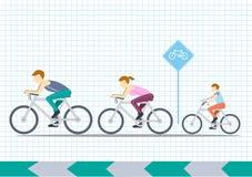 Mamman, farsan och ungar rider cyklar, sportfamiljen, illustrationer Royaltyfri Fotografi