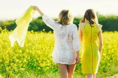 Mamman med dottern eller två systrar i klänningar går mot bakgrunden av ett gult fält Baksida-sikt Royaltyfri Foto