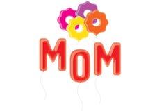 Mamman och blommar ballonger Royaltyfri Bild