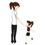 Mamman och dottern går till skolan royaltyfri illustrationer