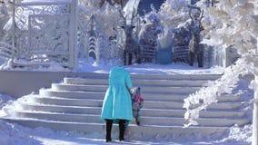 Mamman och dottern i en vinter parkerar arkivfilmer