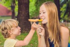 Mamman och sonen hade en picknick i parkera Äta sunda frukter - mango arkivbild