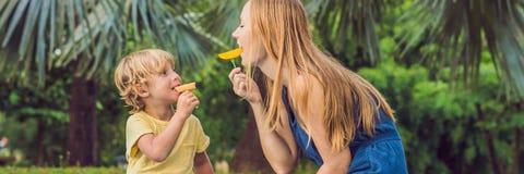 Mamman och sonen hade en picknick i parkera Äta sunda frukter - mango, ananas och melon Barn äter det sunda matBANRET, lång form royaltyfri bild