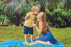 Mamman och sonen hade en picknick i parkera Äta sunda frukter - mango, ananas och melon Barn äter sund mat arkivbilder