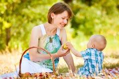 Mamman och sonen har en picknick arkivbilder