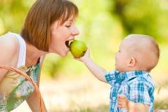 Mamman och sonen har en picknick royaltyfri foto