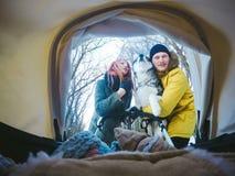 Mammapapa en de hond voor een wandelwagen Stock Afbeeldingen