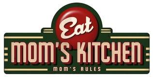 Mammas regler för mammor för tecken för metall för tecken för köktappning stock illustrationer