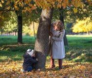 Mammaspelen met haar weinig zoon in het park Stock Afbeelding