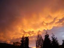 Mammatus clouds below the anvil of a thunderstorm near Utrecht, The Netherlands stock photos