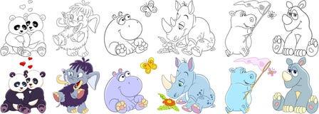 Mammiferi degli animali del fumetto messi Immagini Stock Libere da Diritti