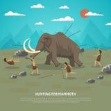 Mammoet de Jachtillustratie Stock Afbeelding