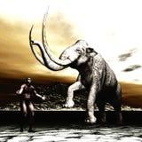 Mammoet met de voorhistorische mens Stock Afbeeldingen