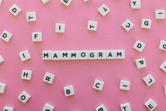 Mammogram word made of square letter word on pink background. stock image