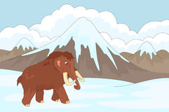 Mammoth on the background of a prehistoric nature Stock Photos
