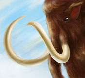 Mammoth digital art. Digital painting of mammoth with huge tasks and blue sky and white snow on background Royalty Free Stock Photo