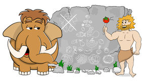Mammoth explains paleo diet using a food pyramid drawn on stone Royalty Free Stock Photography