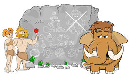 Mammoth explains paleo diet using a food pyramid drawn on stone Royalty Free Stock Images