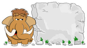 Mammoth in front of stone tablet with copy space Stock Photography