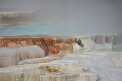 Mammoth Hot Springs au stationnement national de Yellowstone Image stock