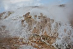 Mammoth Hot Springs au stationnement national de Yellowstone Image libre de droits