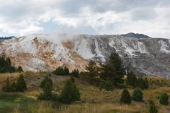 Mammoth Hot Springs au stationnement national de Yellowstone Photo stock