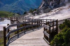 Mammoth Hot Springs Boardwalk Stock Photo