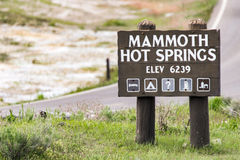 Mammoth hot springs sign - Yellowstone National Park. Travel vacation tourism photos taken in Yellowstone National Park Wyoming USA. mammoth hot springs sign Stock Photo